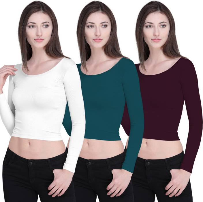 Ziya Casual Full Sleeve Solid Women's White, Green, Brown Top