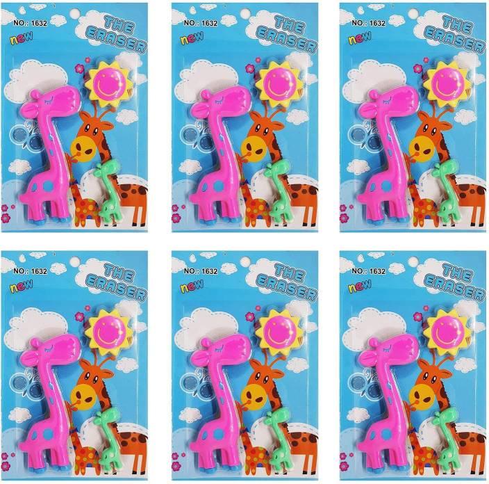 Majik Combo Of 6 Erasers Pack For Kids Birthday Return Gift Children School Accessories Multicolor 1 Non Toxic Eraser