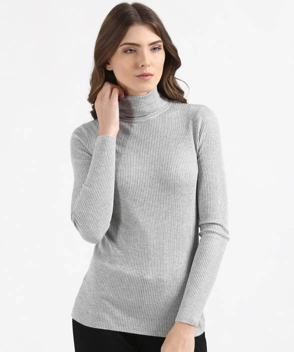 87ede56f224 Marks   Spencer Solid Turtle Neck Casual Women Grey Sweater - Buy ...
