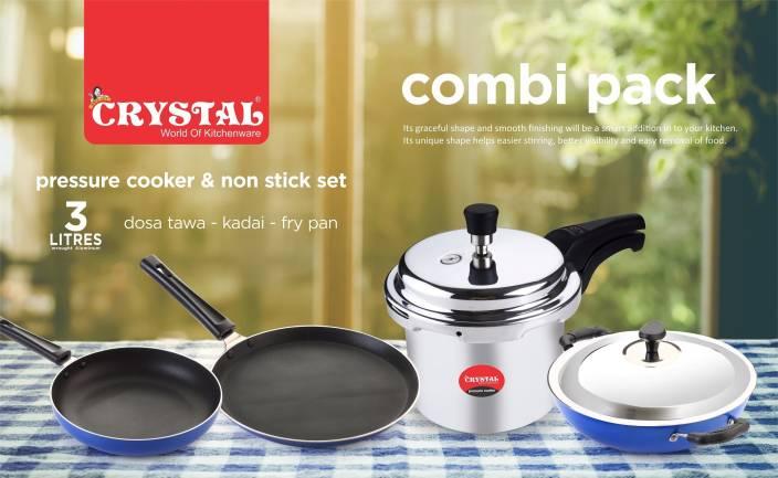 Crystal Kitchen Combi Cookware Set Aluminium 5 Piece