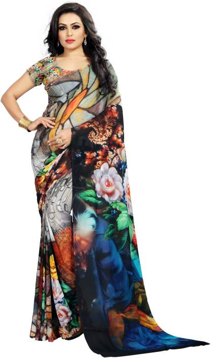 b66de1accc Buy Kalaa Varsha Digital Prints Fashion Georgette Blue, Black Sarees ...