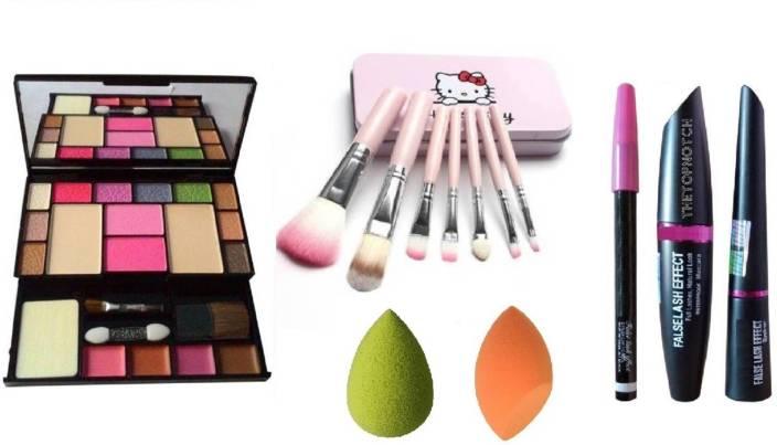 85f1d1f4d TheTopNotch EyeLiner Kajal Mascara (TTN 3 in1) & TYA Makeup Kit 6171 & Hello  Kitty Brush Set & MN MeNow 2 Puff Sponges (Pack of 7)