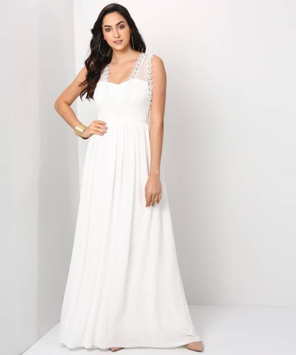 2750ad19c Trendyol Women Gown White Dress - Buy Trendyol Women Gown White Dress  Online at Best Prices in India | Flipkart.com