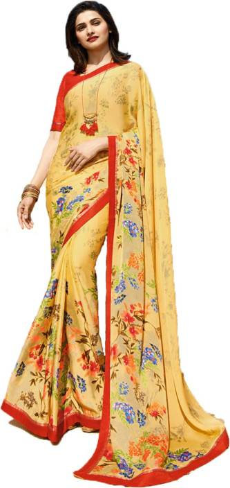 7321efef82367 Buy Arth Creation Printed Bollywood Georgette Yellow Sarees Online ...