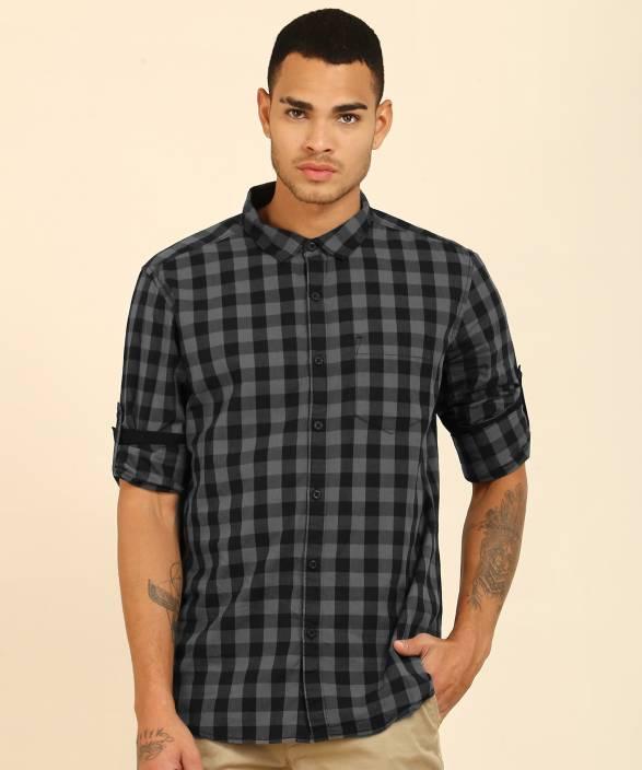 Highlander Men's Checkered Casual Grey, Black Shirt