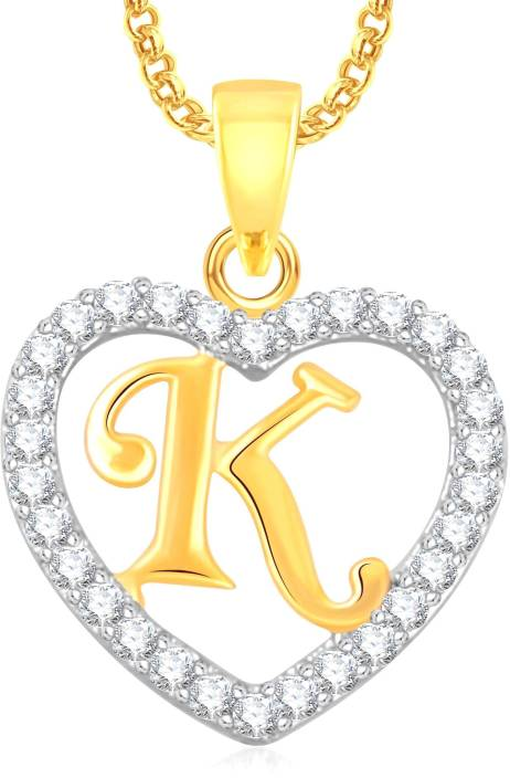 "Divastri "" K "" Letter Alphabet Necklace Pendants Chain Heart Pendant for Girls Boys Women Mens Valentine Gift Silver, Gold-plated Cubic Zirconia, Diamond Alloy, Stone Pendant"