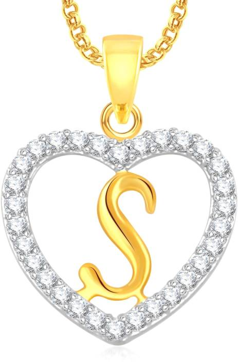 "Divastri "" S "" Letter Alphabet Necklace Pendants Silver, Gold-plated Cubic Zirconia, Diamond Alloy, Stone Pendant"