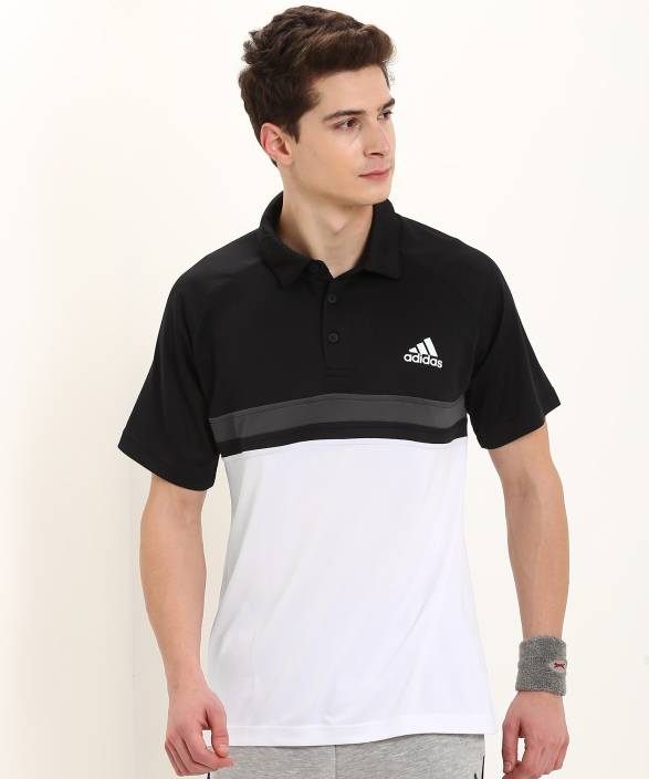 e4211e3d1 ADIDAS Striped Men Polo Neck Black, White T-Shirt - Buy ADIDAS ...