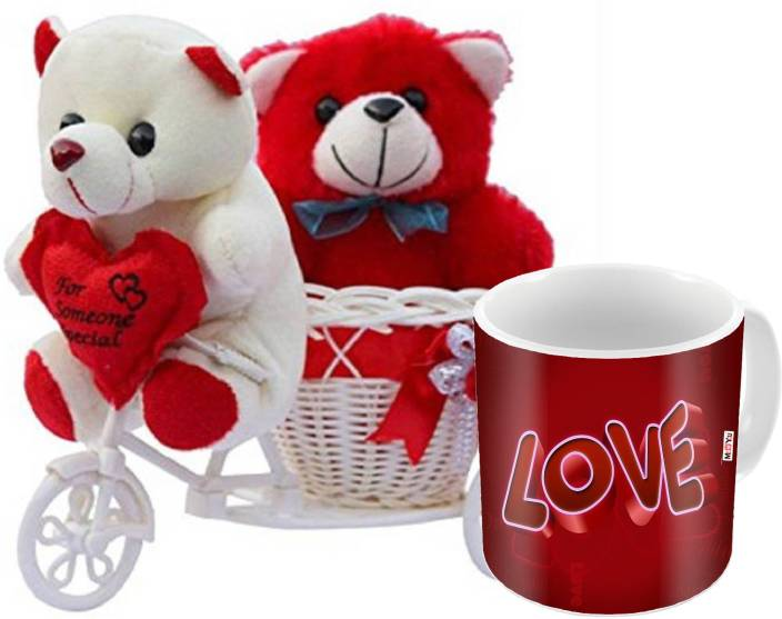 MEYOU Romantic Gifts Surprise Cycle Teddy With Mug For Wife Husband Girlfriend