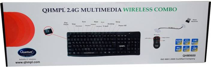 33aa7a10ccf Quantum Multimedia Wireless QHM 9600 Keyboard Mouse Cordless 2.5 G Hz 10  Meters Combo Set