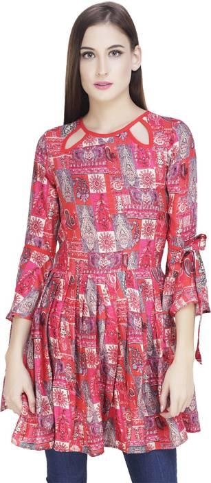 PRIMOSI Casual Bell Sleeve Printed Women's Pink Top