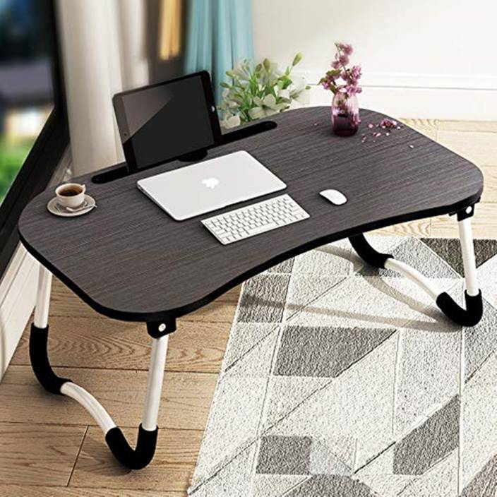 Tarkan Foldable Wooden Laptop Desk For Bed Wood Portable Table Finish Color Walnut Black