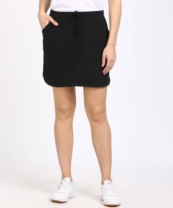 Sugr Solid Women's Regular Black Skirt
