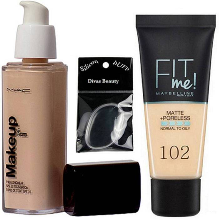 divas beauty Silicon Puff & New York Fit Me Matte +Poreless Foundation, Mac Makeup Pro Longwear Foundation (Set of 3)