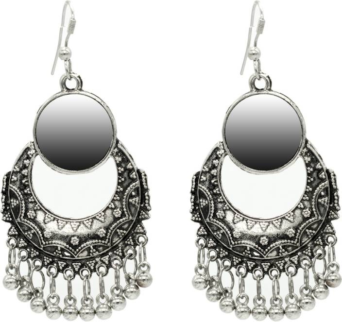 8a3d56f28 Flipkart.com - Buy steeplook STEEPLOOK German Silver Oxidised Earrings For  Women And Girls - Traditional Bold Fancy Party Wear Earring With Mirror  Alloy ...