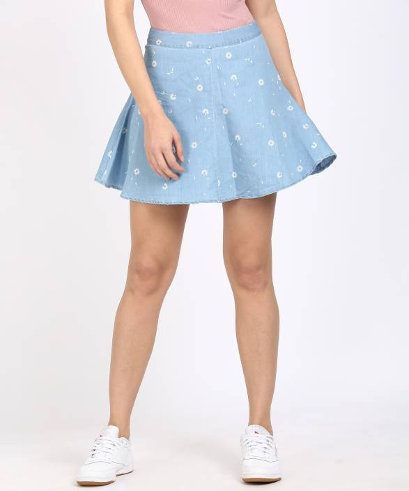 Sugr Printed Women's Regular Blue Skirt