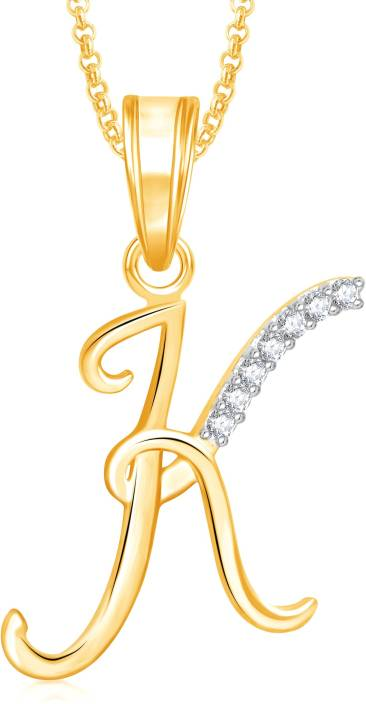 "Divastri "" K "" Letter Alphabet Necklace Pendants Chain Heart Pendant for Girls Boys Women Mens Valentine Gift Gold-plated, Silver Cubic Zirconia, Diamond Alloy, Stone Pendant"