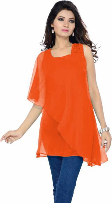VED CREATION Party Half Sleeve Solid Women's Orange Top