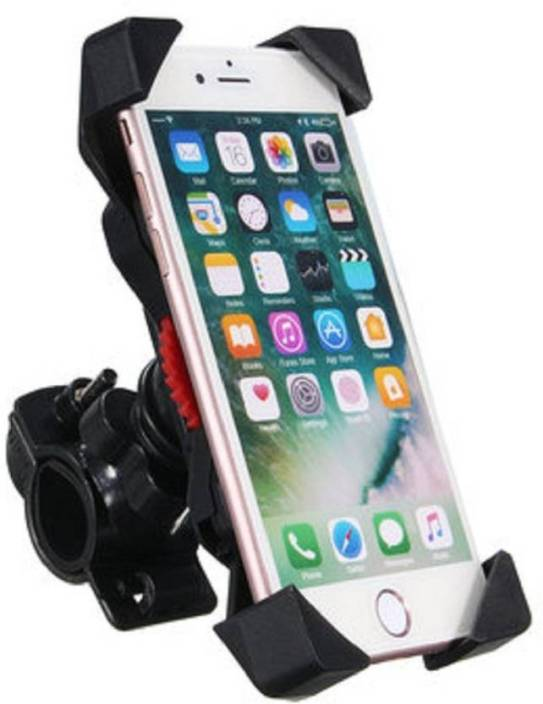 ALLMUSIC Universal Motorcycle Phone Holder Stand Motorbike rearview mirror Mount Bracket With Edge Protector Bike Mobile Holder Bike Mobile Holder ( Black)