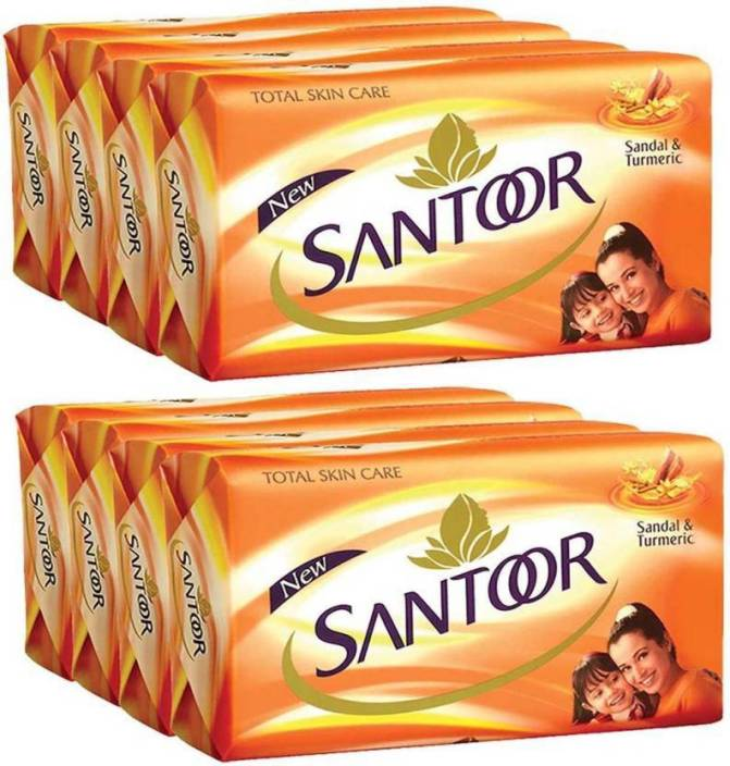 Bar Soaps Health & Beauty pack Of 8 Santoor Total Skin Care Sandal And Turmeric Soap Bathing Bar 100g