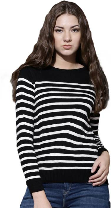 71b841d3d9cf Roadster Striped Round Neck Casual Women Black