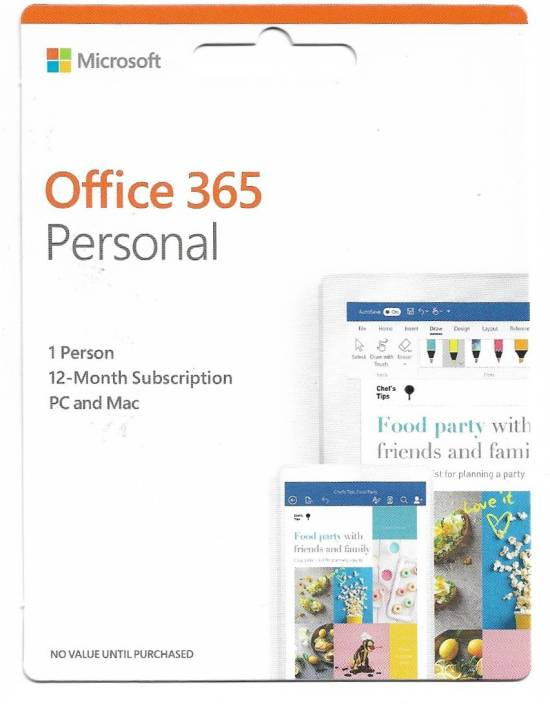 Microsoft Office 365 Personal 1 Person 12 Month Subscription