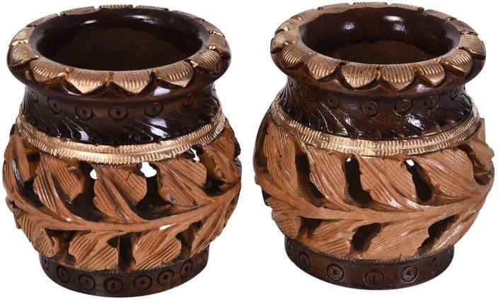Gaura Art Crafts Wooden Pot Design Handicrafts Pen Holder Or
