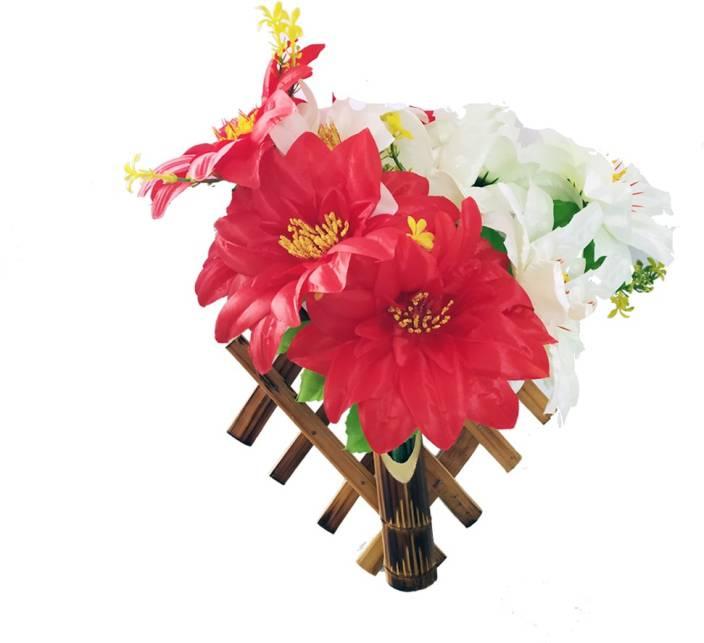 Tovick Bamboo Craft crisscross peach color Wooden Vase
