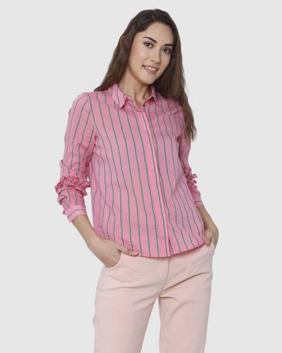 024f4cf17f Vero Moda Women's Striped Casual Pink Shirt - Buy Vero Moda Women's ...