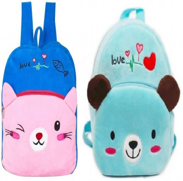 b2b2a3cb5 Frantic Velvet Pre Nursery or Nursery PinkCat and SkyCat Kids Bag - 2 Pack  Plush Bag (Pink, 10 L)