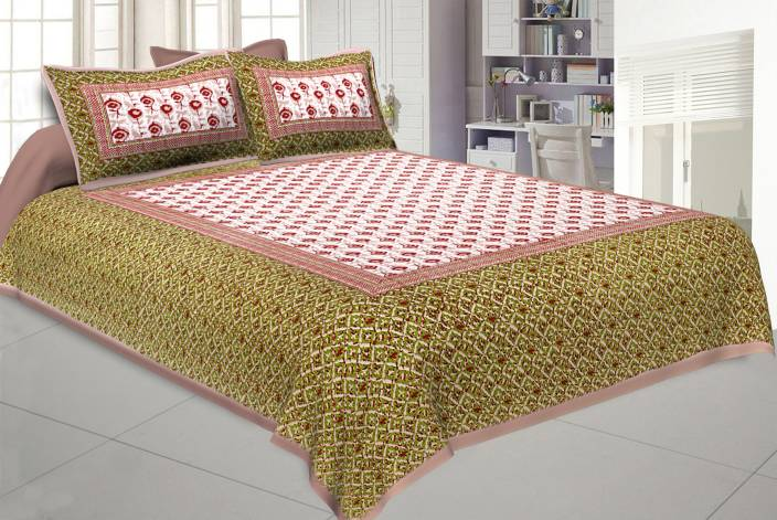 8612f79a06 Jaipur Fabric 120 TC Cotton Double Printed Bedsheet (Pack of 1, Multicolor)