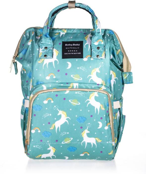 2e786e240 Wishkey Premium Large Capacity Multi Functional Waterproof Fashionable  Unicorn Design Stylish & Durable Maternity Green Diaper Bag Bagpack For  Mothers and ...