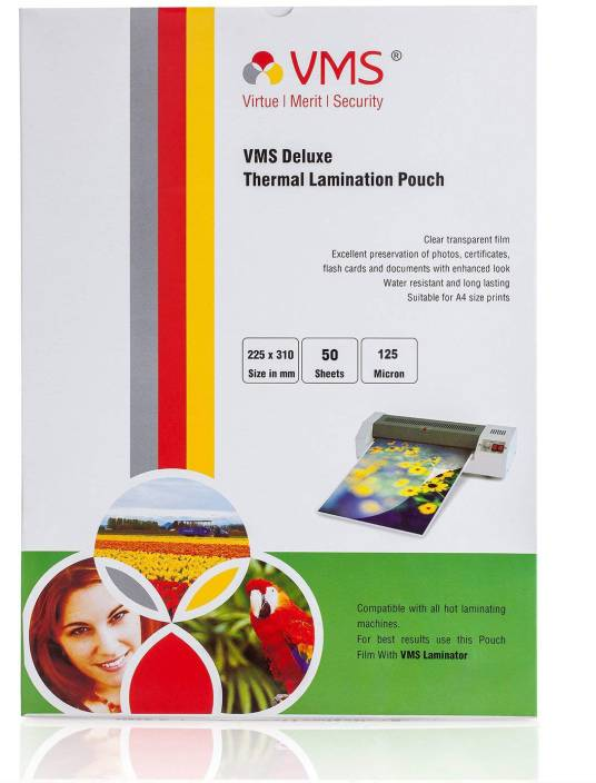 VMS Deluxe Thermal A4 Lamination Pouch 225 x 310-125 Micron (5 Mil