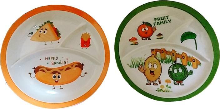 Purpledip Plastic Plates Love All Food Set Of 2 Dinner For Children Unique Birthday Return Gift Plate Pack
