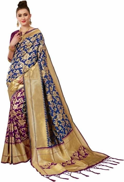 bc6dcfd2e6 Buy Winza Designer Woven Banarasi Banarasi Silk Multicolor Sarees ...