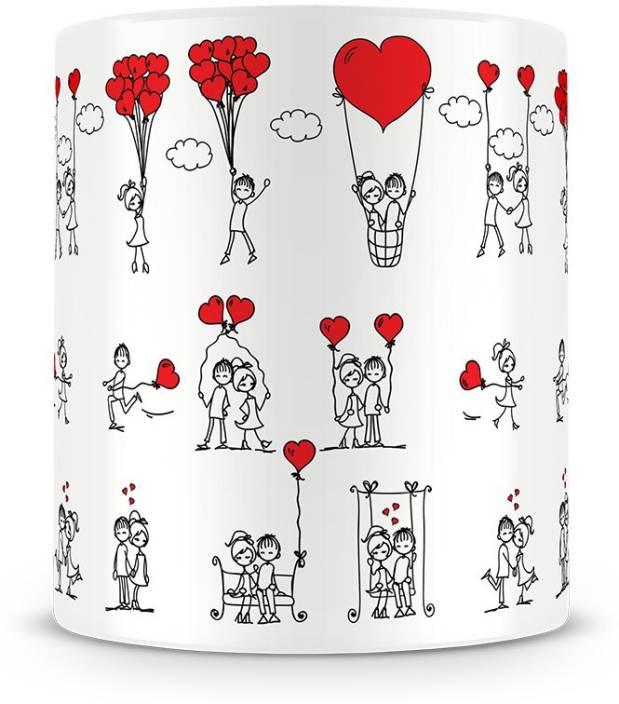 sale retailer 0ec8c 15bfd illuminati gifts Couple Love Story Doodles Printed (ASMUGV042) Ceramic Mug  (325 ml)