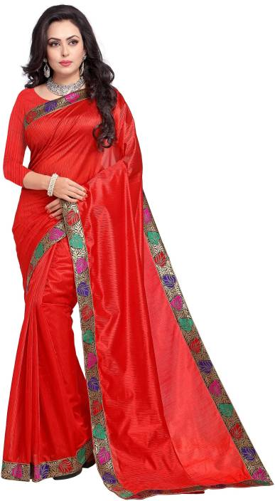 31083be6bb Buy Divastri Solid Fashion Lycra Blend Red Sarees Online @ Best ...