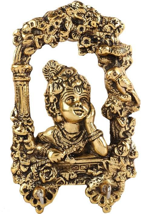 46b135066eb Kuber Industries Metal Handcrafted Krishna 2 Hooks Key Hanger  (Gold)-CTKTC4147 Brass Key Holder (2 Hooks