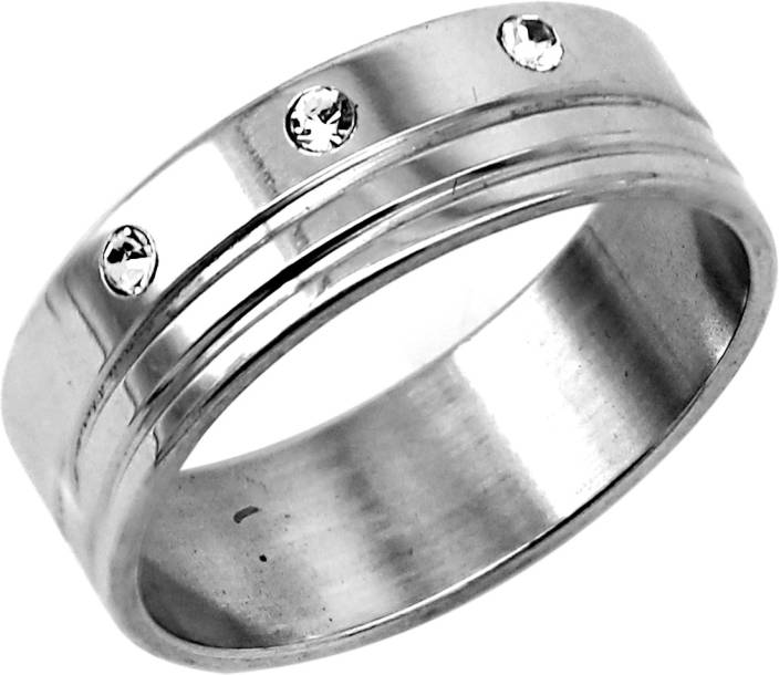 648890ab8 Indi Creation 8 MM Three Stone Classic Band Stainless Steel Cubic Zirconia  Ring