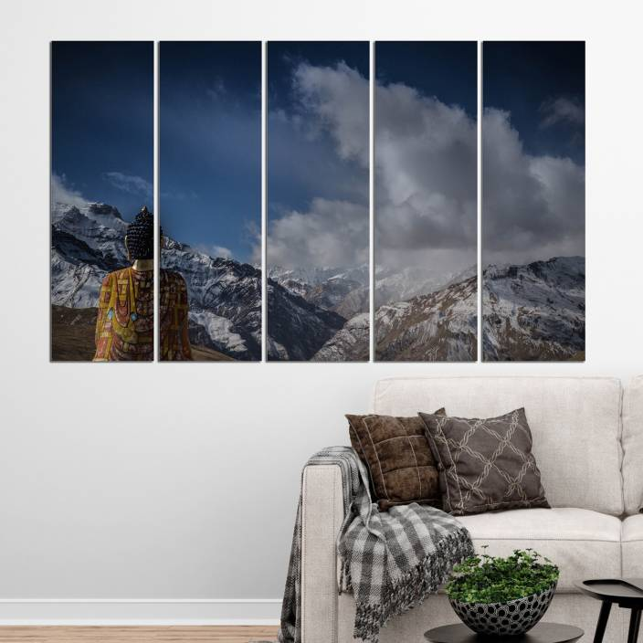 Coloriffy Multiple Frames Beautiful Buddha Wall Painting For Living