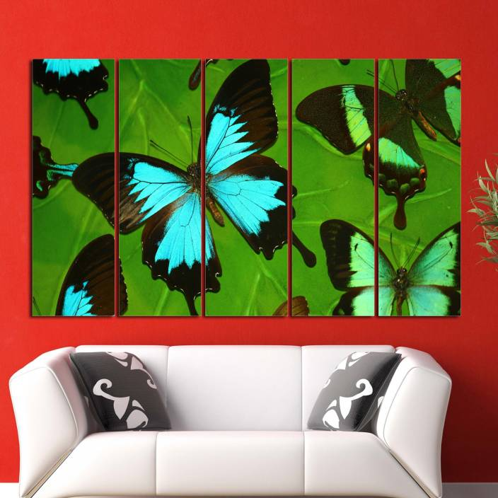 Coloriffy Multiple Frames Beautiful Butterfly Wall Painting For