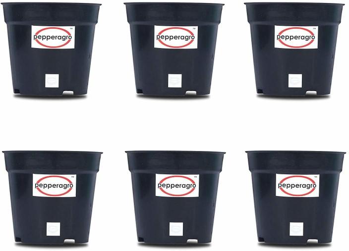 190 & Pepper Agro Gardening Planter Black Flower Pots 4inch Set of 6Qty ...