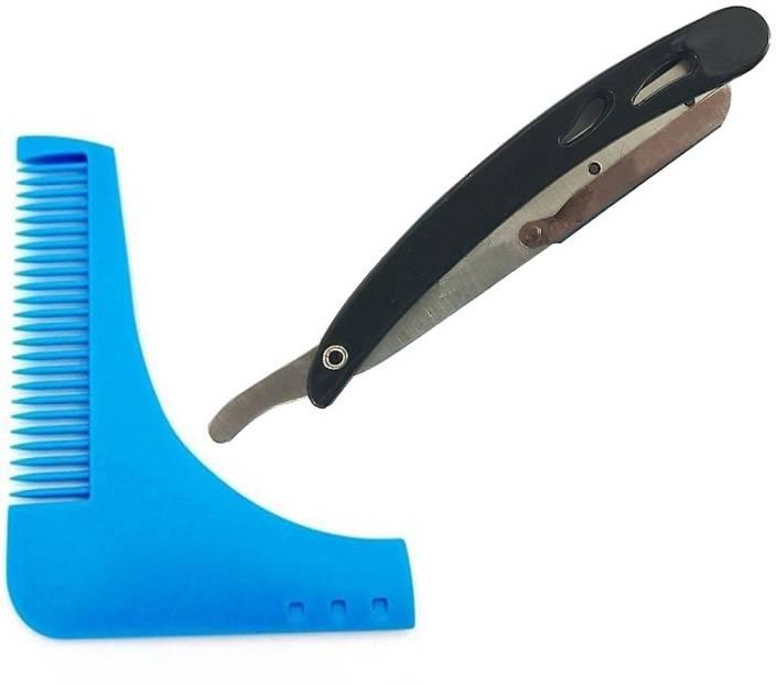 S R Enterprises plastick shaving razor and L shape beard blue comb [pack of 2pcs]