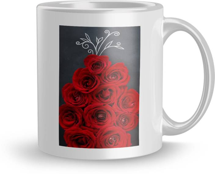 Earnam Flowers Gift For Girlfriend Birthday 320Ml Multicolor Mug2105 Ceramic Mug 330 Ml