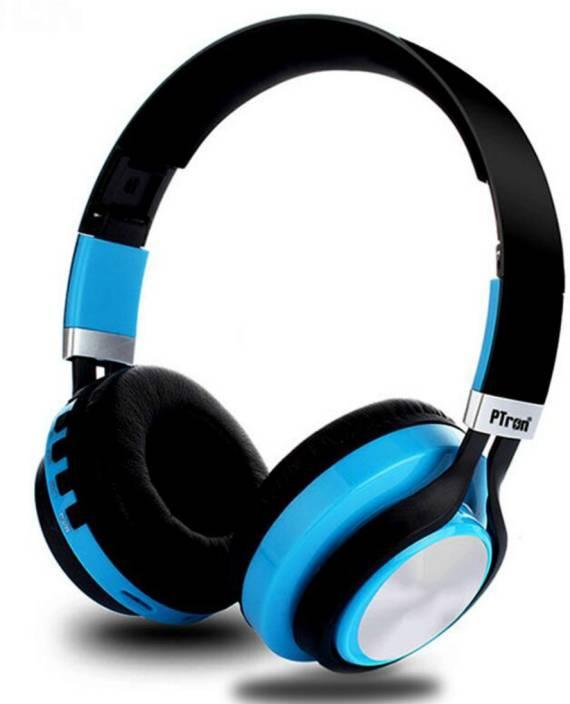 1e768638d4d PTron Kicks 482 Wireless Bluetooth Headset with Mic (Blue, On the Ear)