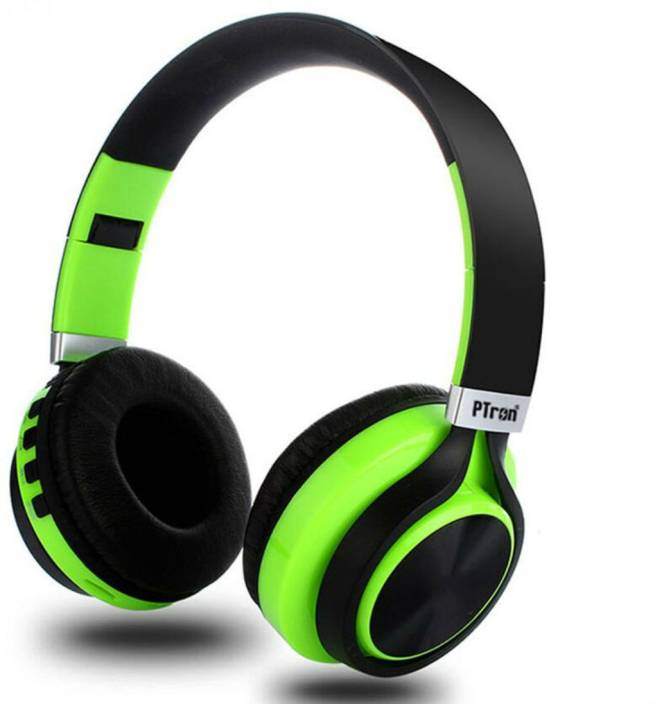 5008c758954 PTron Kicks 480 Wireless Bluetooth Headset with Mic (Green, On the Ear)