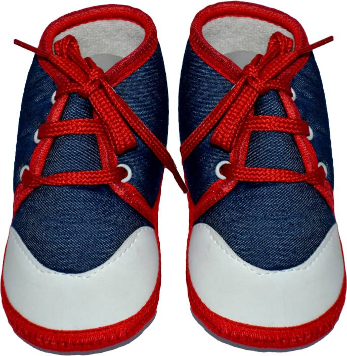 bef8a3edf7ef Pin to Pen Baby Booties Denium With Red lace Up Booties (Toe to Heel Length  - 13 cm Blue