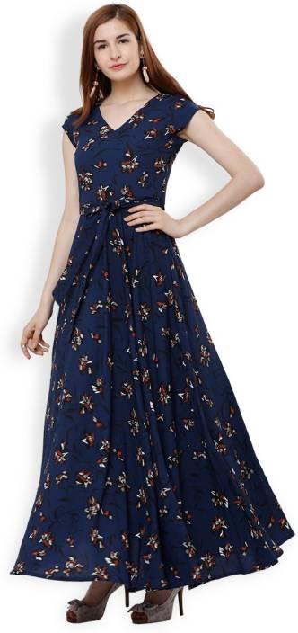 226fcf995 Tokyo Talkies Women Maxi Blue Dress - Buy Tokyo Talkies Women Maxi Blue  Dress Online at Best Prices in India