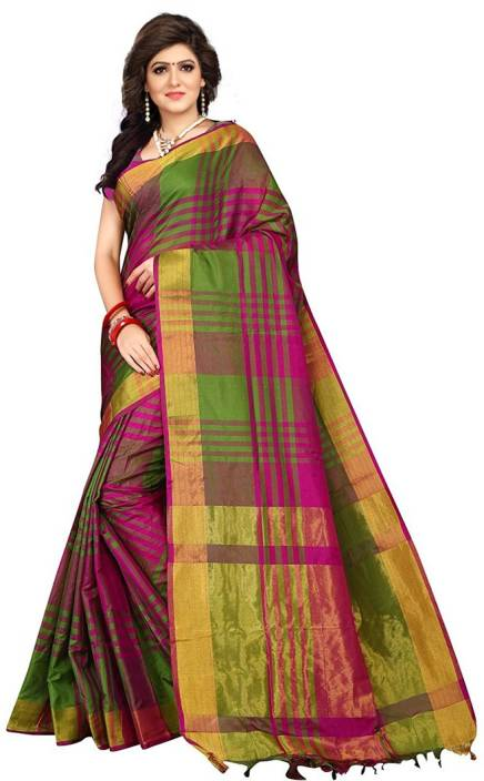V J Fashion Checkered Fashion Art Silk Saree