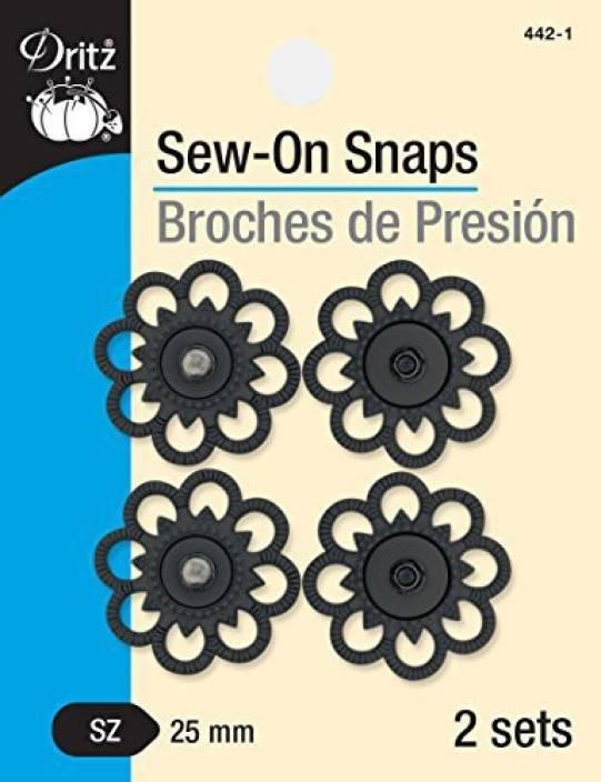 Dritz 442-1 Sew Black Flower Snaps, 25Mm (Pack Of 3) - 442-1